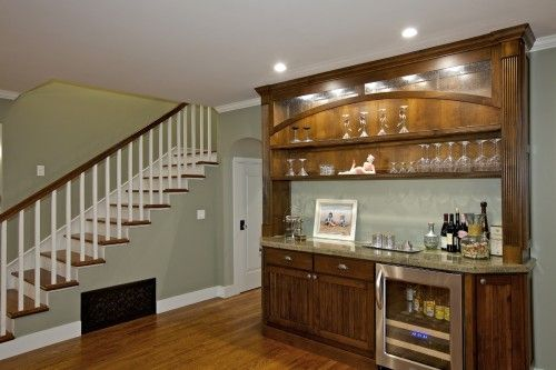 Cmh Builders Wet Bar With Floating Shelves On Stacked Stone Wall