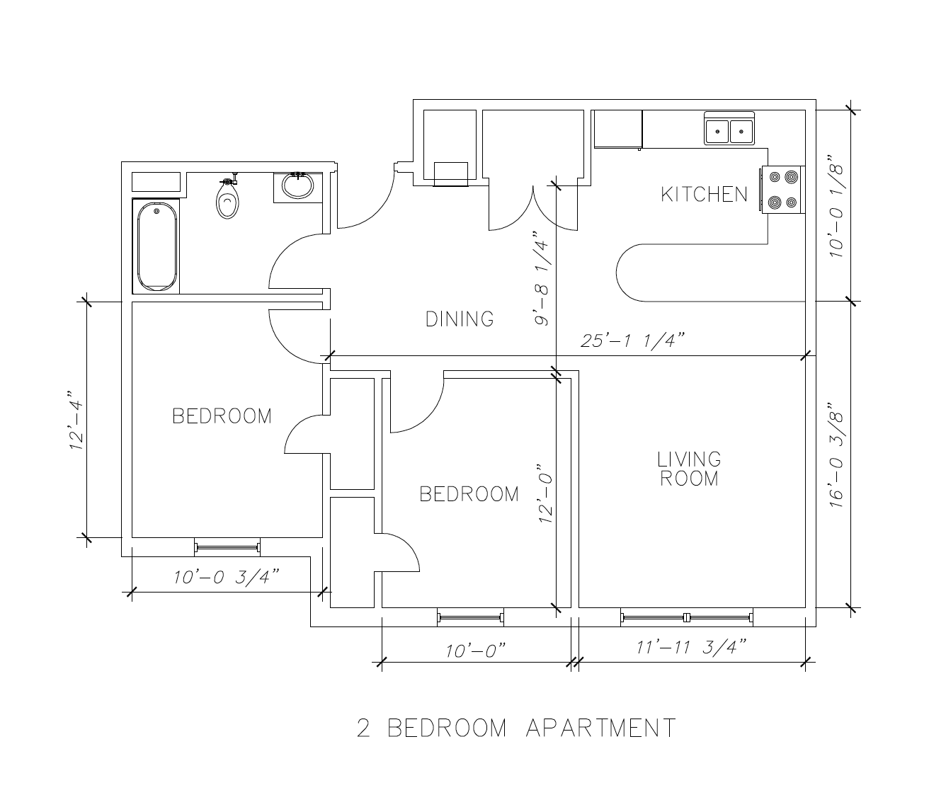Seahawk Landing 2 Bedroom Floor Plan and Room Dimensions