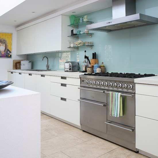 Kitchen Tiles Glass Splashback contemporary glass splashback kitchen, @sarah holland another