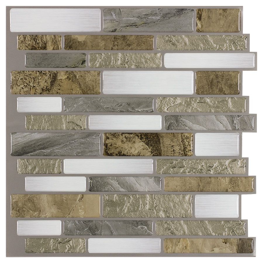 Shop Peel Stick Mosaics Mountain Terrain Composite Vinyl Mosaic Scale Peel And Stick Wall Tile