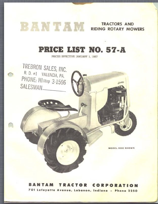 January 1st 1957 price list for Bantam tractors Lawn  Garden