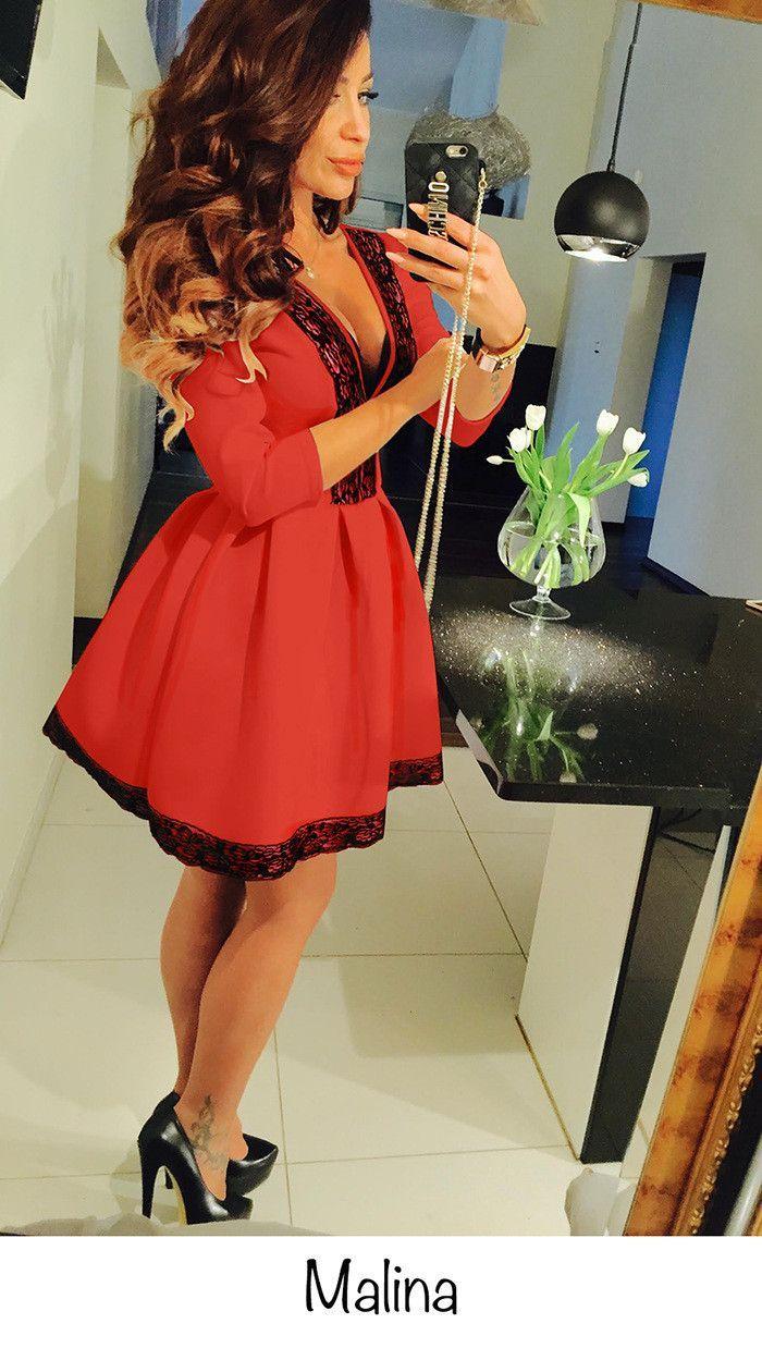 Lace And Cotton Blend Short Cocktail Dress