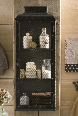 Rustic Black Metal Medicine Cabinet With En Wire Mesh Door And Sides Rather Large At 34 1 2 High By 5 Deep
