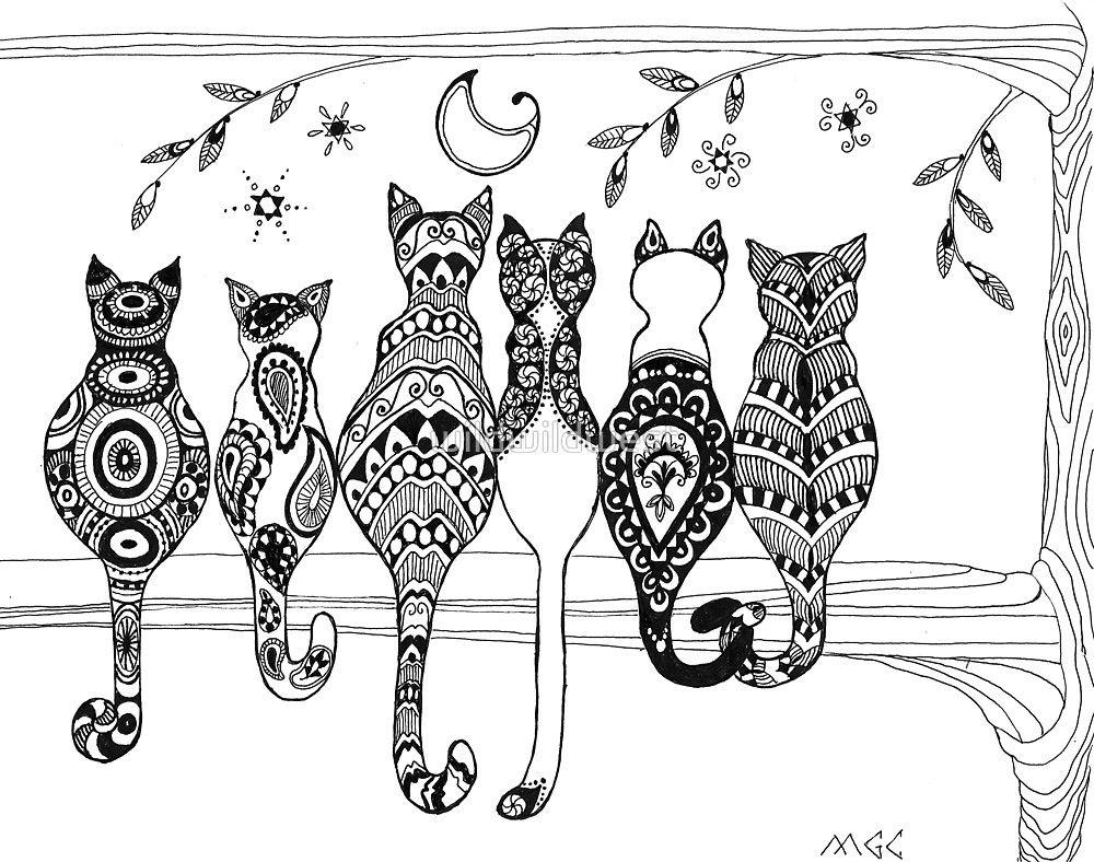 Pop Art Zentangle Cats Lovers Moon By Wildwildwest
