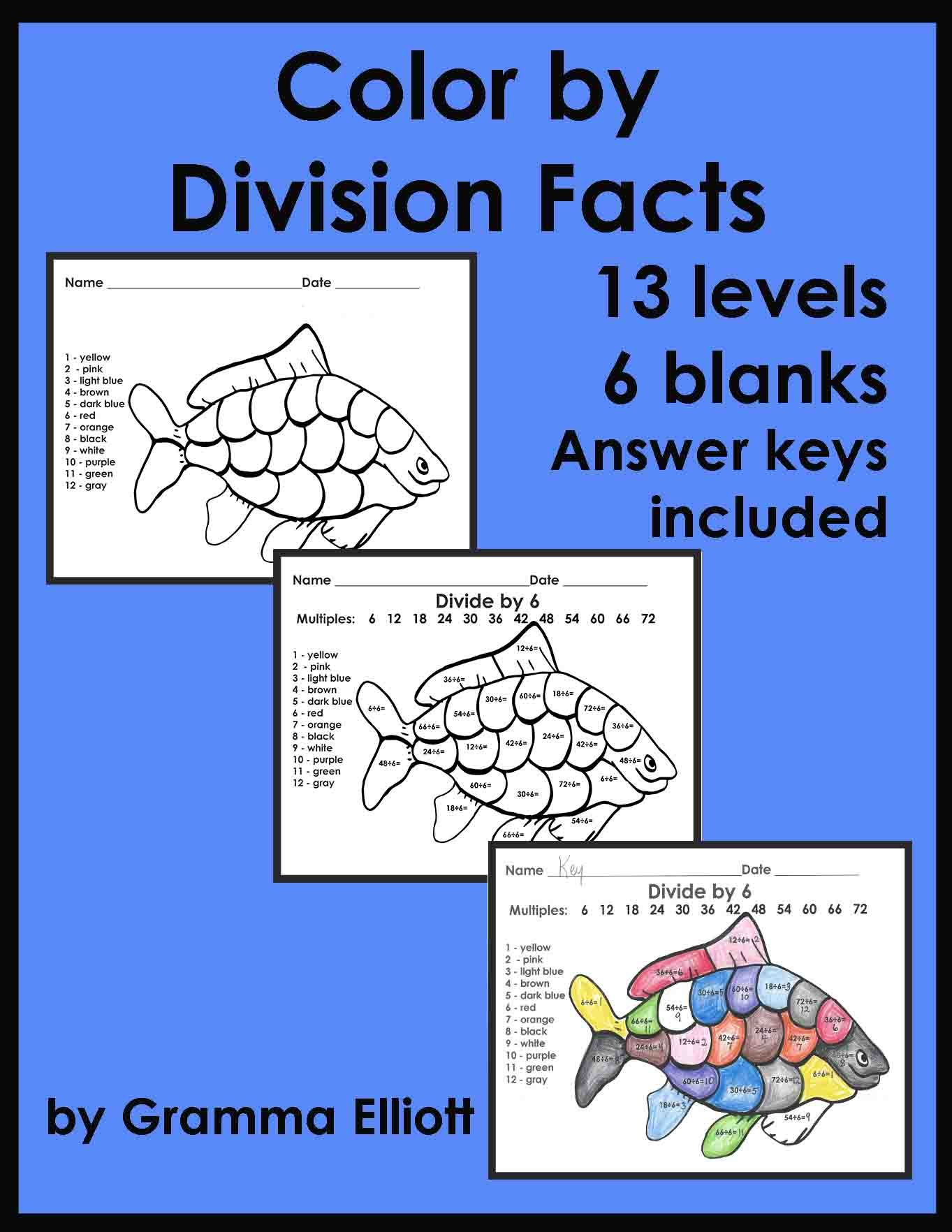Color by Number Division No Prep Worksheets with Answer