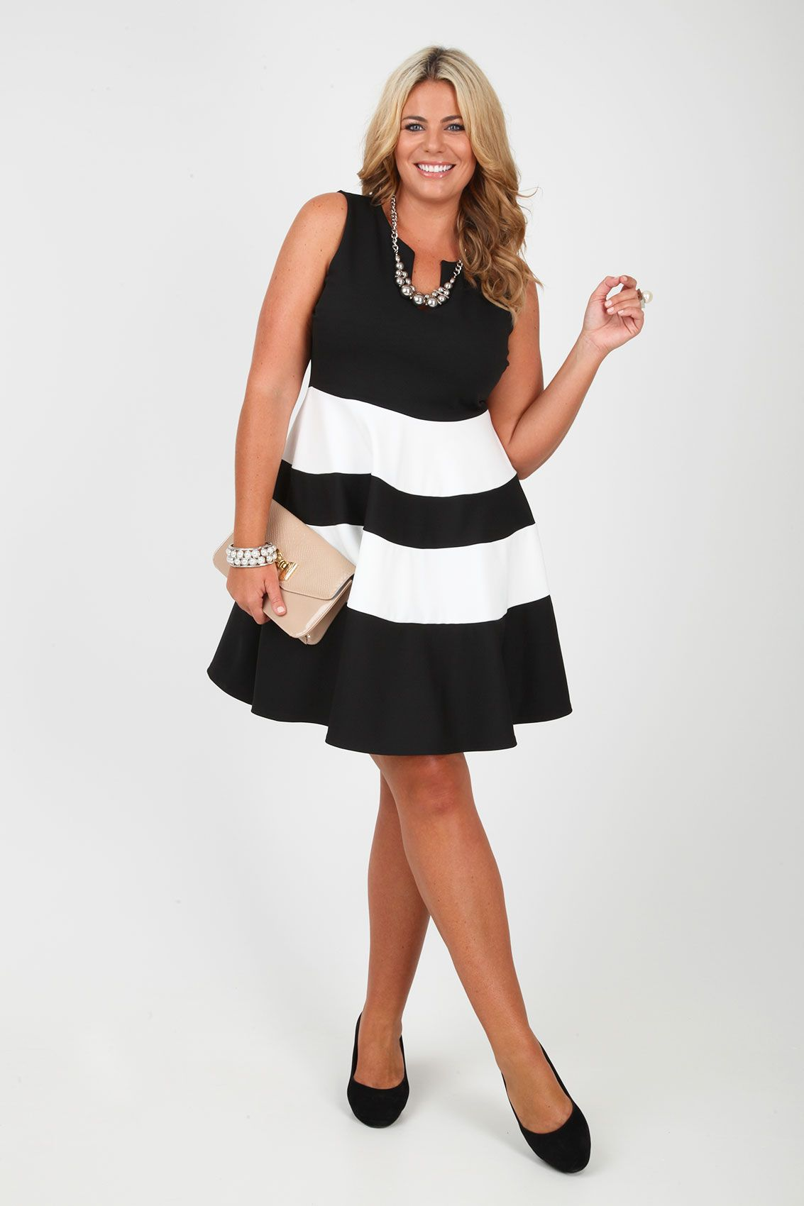 Black And White Monochrome Block Stripe Skater Dress plus ...