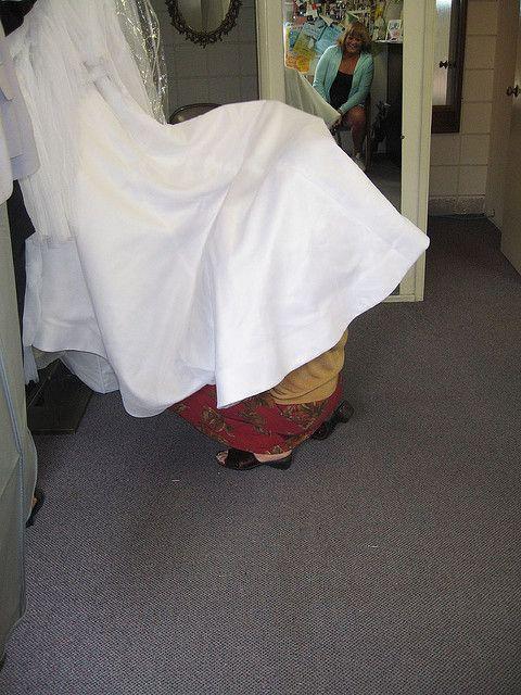 Kiki hiding under the Wedding Dress, La Jolla- California     mg