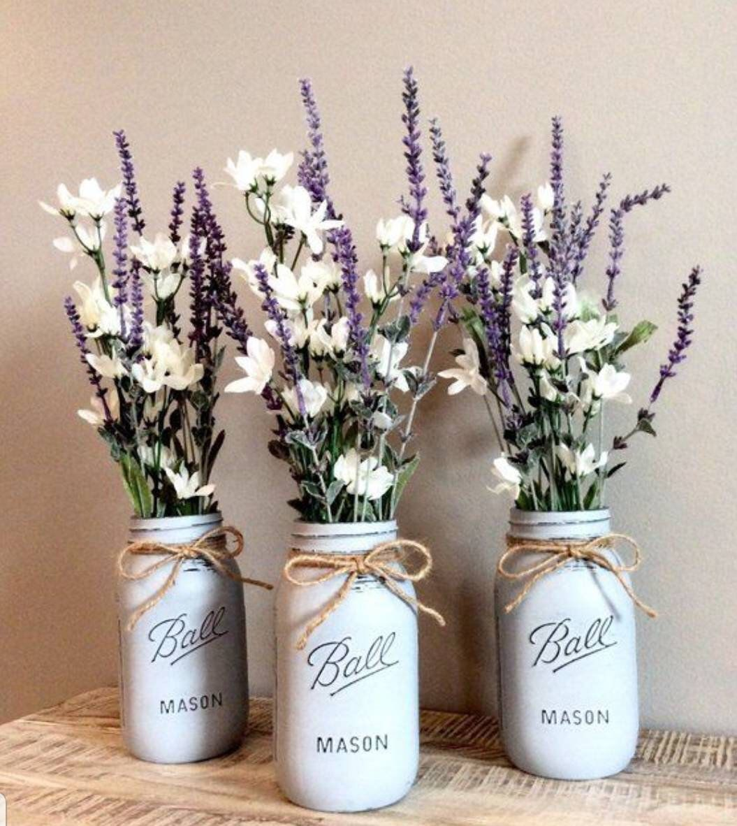 Items similar to Chalk Paint Mason Jars - center pieces - Decor - Wedding on Etsy