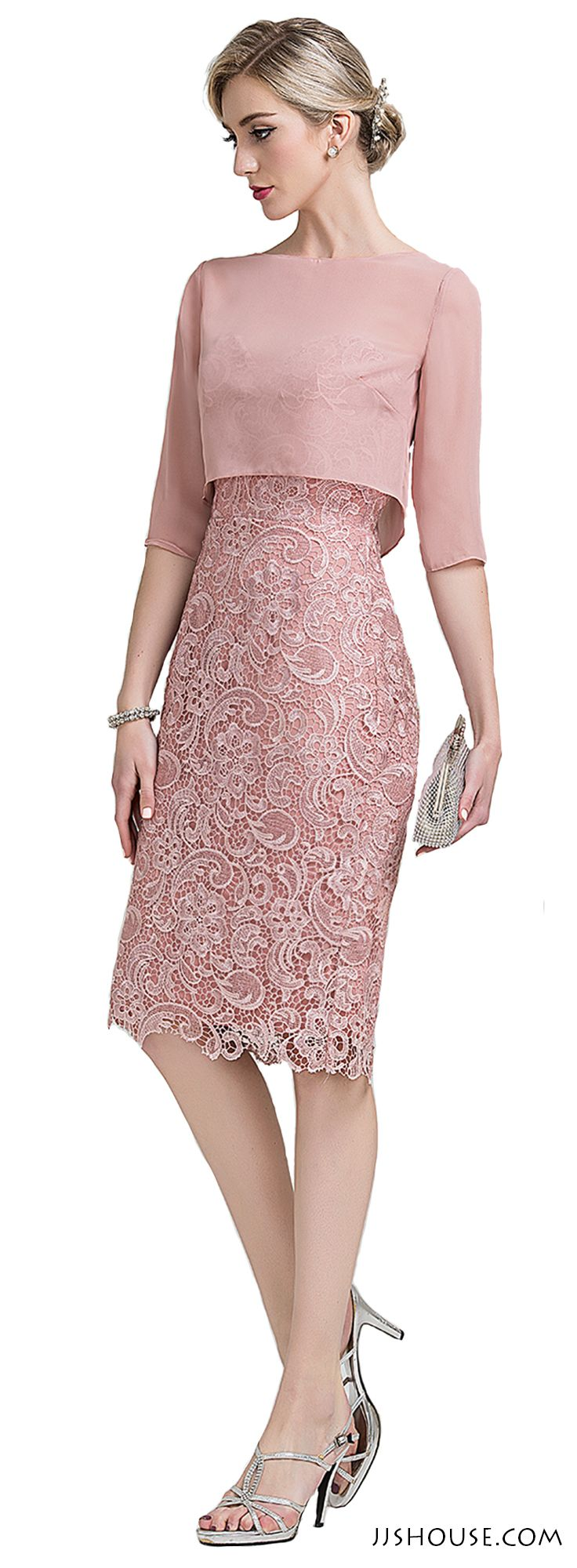 Sheath/Column Sweetheart Knee-Length Lace Mother of the Bride Dress ...