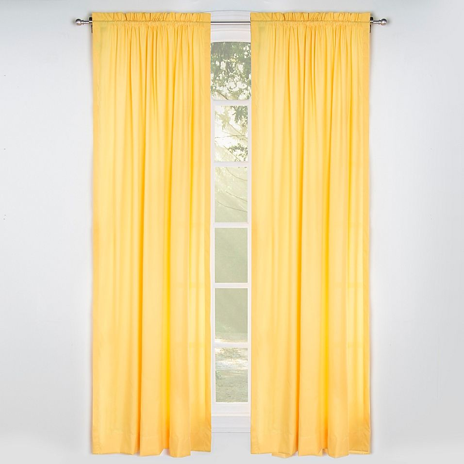 Solid Microfiber 84 Rod Pocket Window Curtain Panel In Yellow In