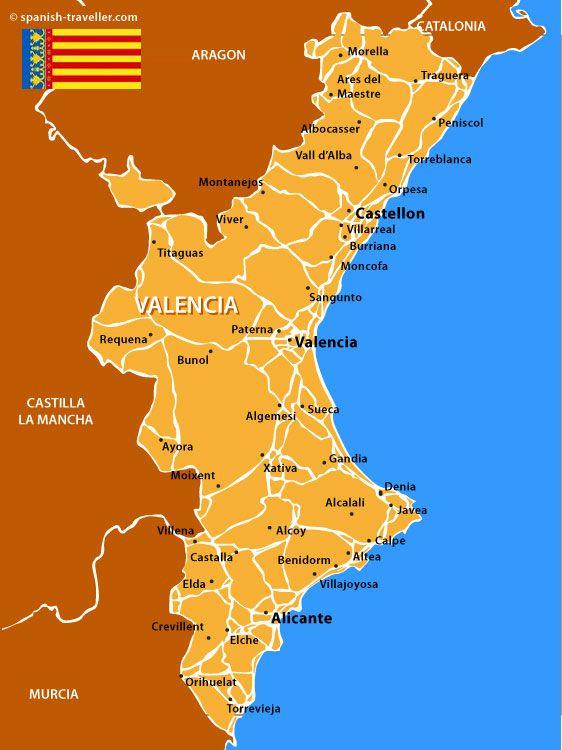 La comunidad Valenciana se encuentra en la costa oeste de Espaa La