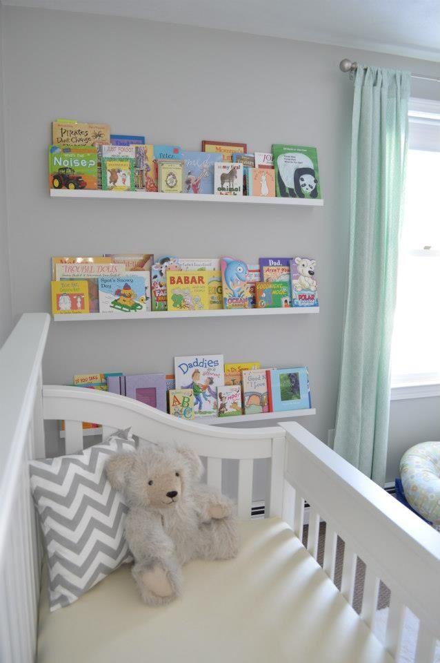 Finished Product Nursery Ikea Ribba Shelves Ikea Nursery Nursery Wall Shelf Baby Shelves