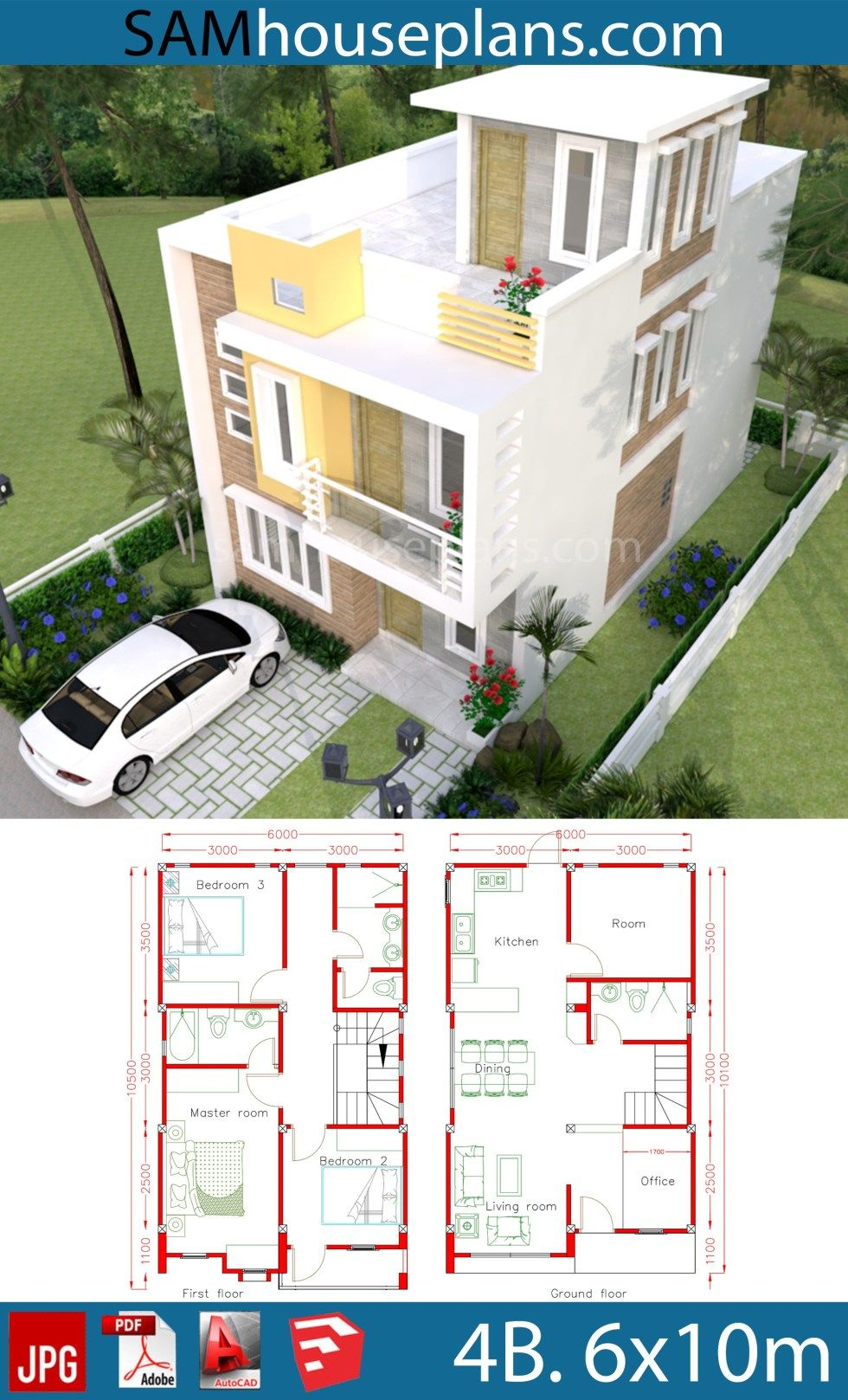 House Plans 6x10m with 4 Rooms
