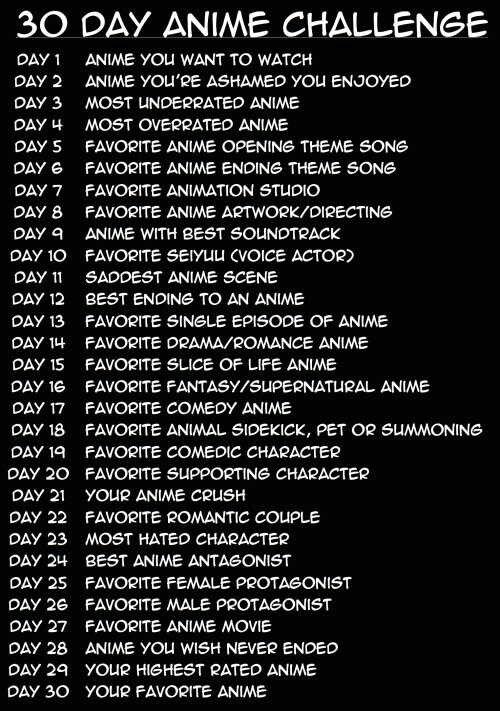 30 Day Anime Challenge Text Otaku Otaku Day Anime Anime Life