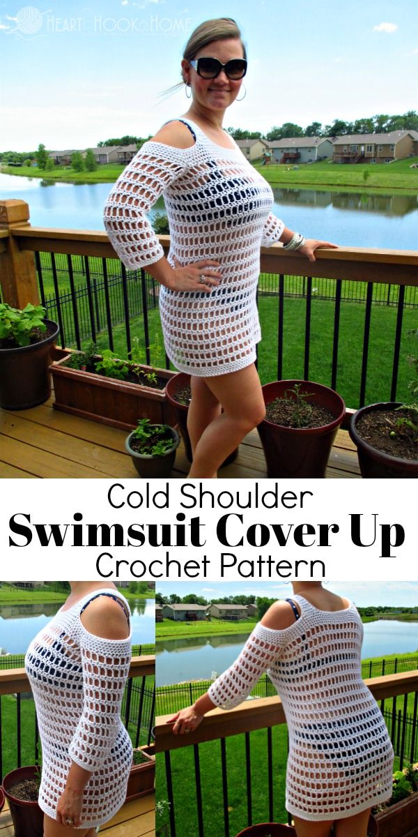 9a67796c04a Headed to the pool or the beach? You need a Cold Shoulder Swimsuit Cover Up!  Use this crochet pattern to make one in ANY size!