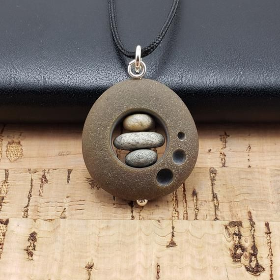 Photo of Beach Rock Circle Necklace natural stone cairn necklace adjustable surfer necklace three circles engraved stone boho beach necklace