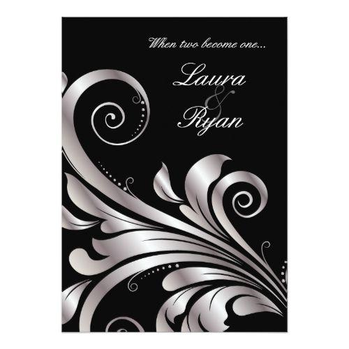 Fall Wedding Thank You Cards Leaf Swirl Wedding Invitation Black Silver