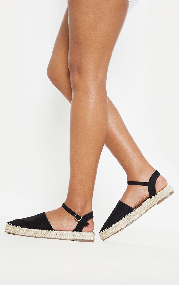 Black Espadrille Flat Sandal