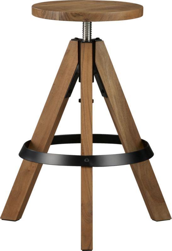 Prime Rig Acacia Adjustable Bar Stool Cb2 130 Furniture Pabps2019 Chair Design Images Pabps2019Com