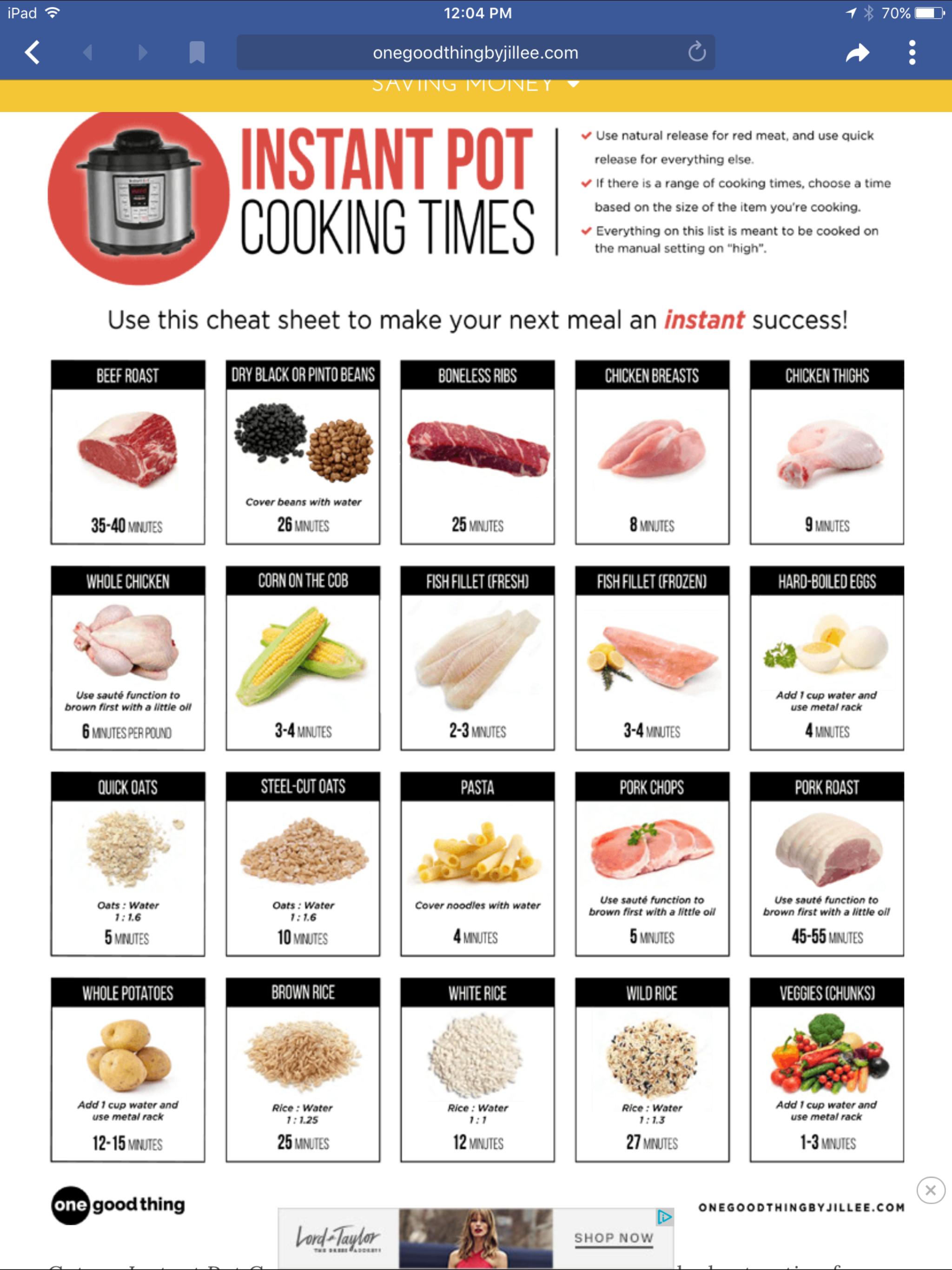 Instant Pot Cooking Times Instant Pot Recipes Pot Recipes Instant Pot Dinner Recipes