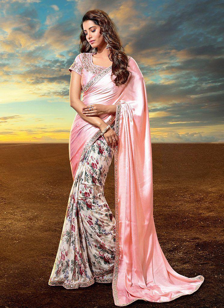 c2515eb83f Light Pink Floral Satin Saree Latest Designer Sarees, Buy Designer Sarees  Online, Designer Wear