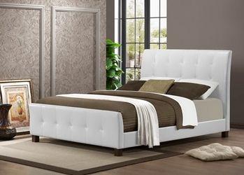 Baxton Studio Amara White Modern Bed   Queen Size Affordable Modern  Furniture In Chicago, Baxton