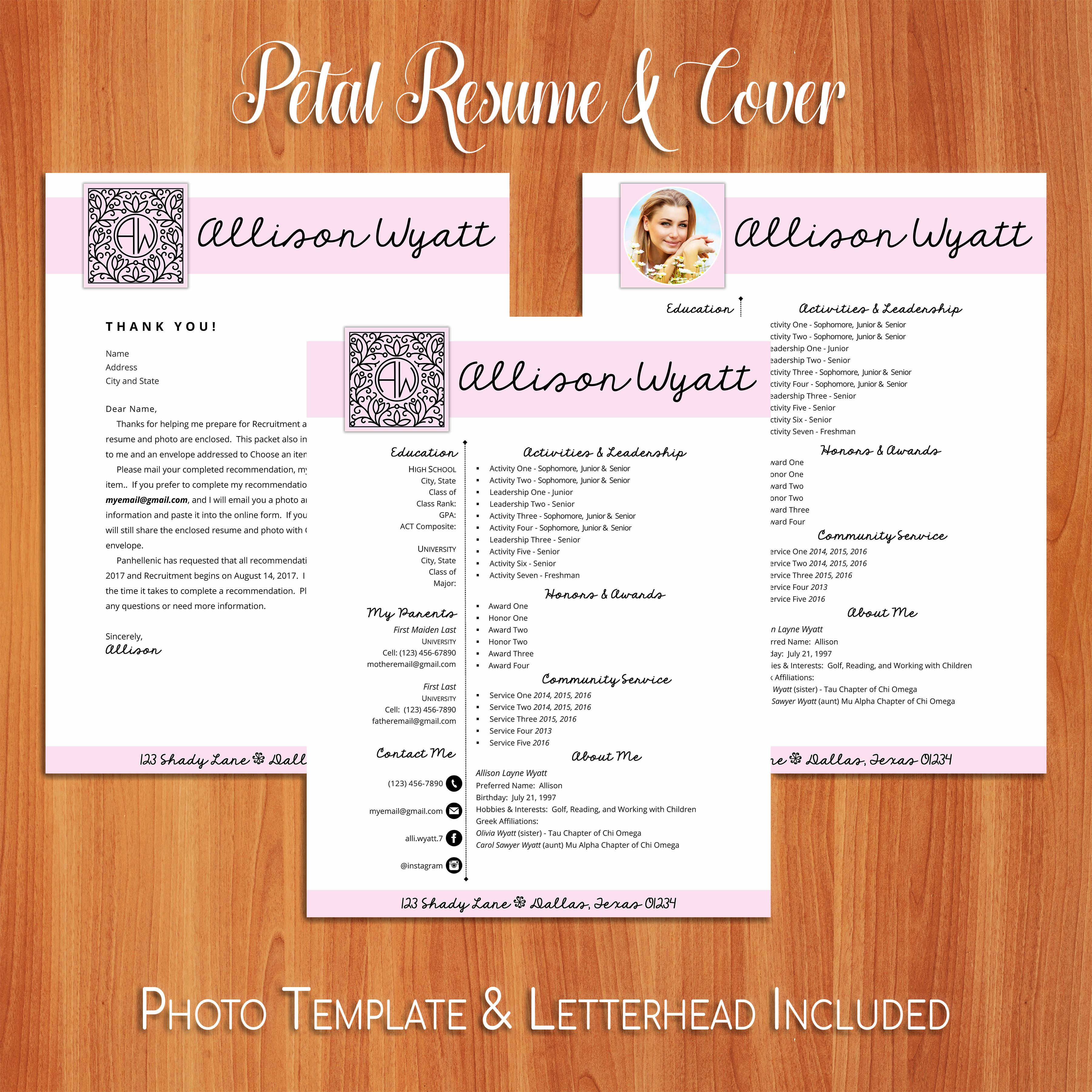 Social Resume And Sorority Recruitment Packet 2 Resume Template Options Are You Ready For Rush Greeklife