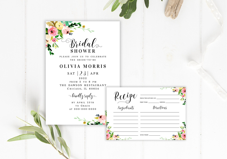 Floral Bridal Shower Invitation Template Recipe Card Fully Etsy In 2020 Bridal Shower Invitations Templates Floral Bridal Shower Invitations Bridal Shower Invitations