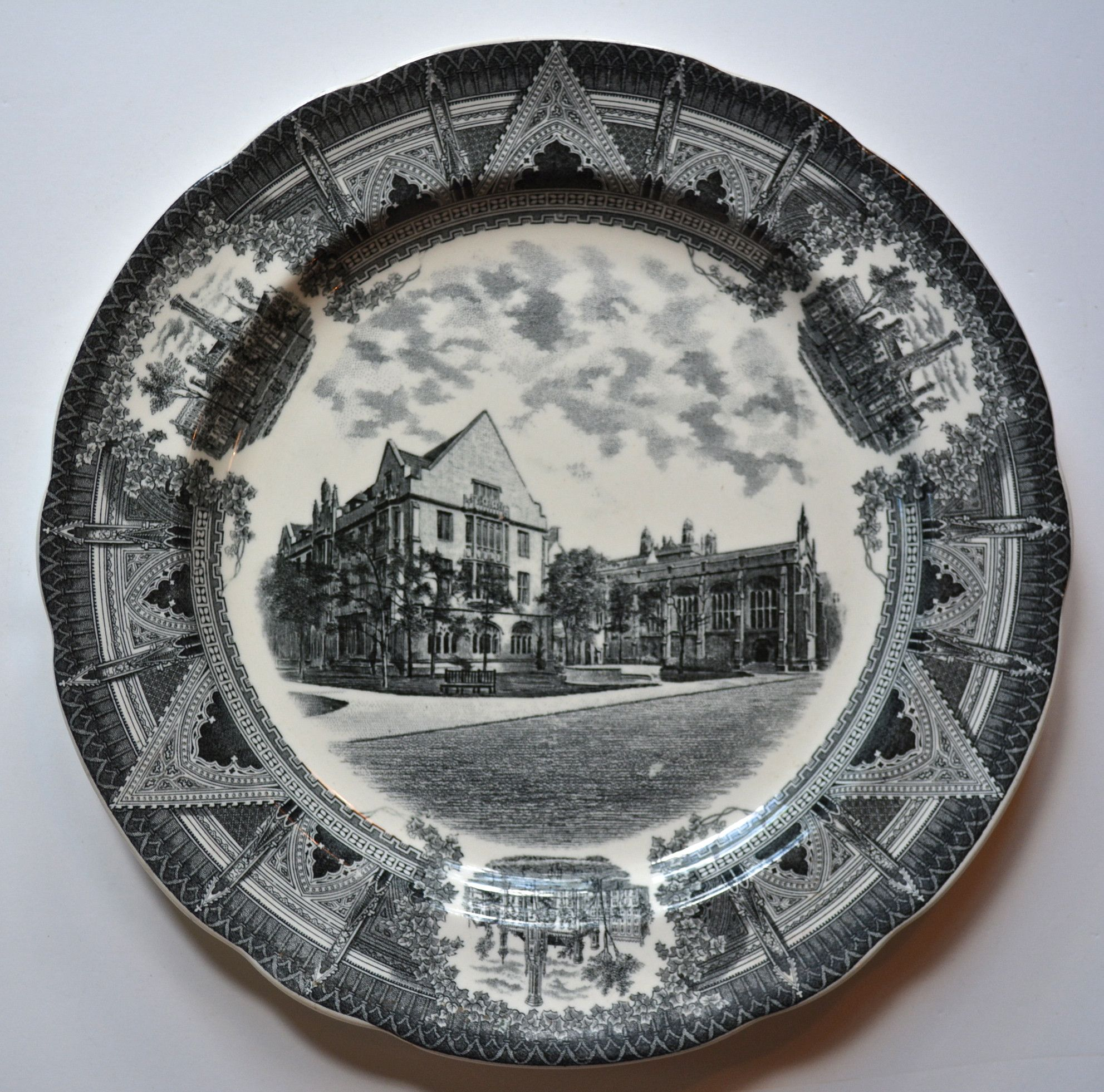 Spode Copeland Black Transferware Charger Plate Stunning Neo Gothic Style Architectural Border Chicago University Swift Hall & Spode Copeland Black Transferware Charger Plate Stunning Neo Gothic ...