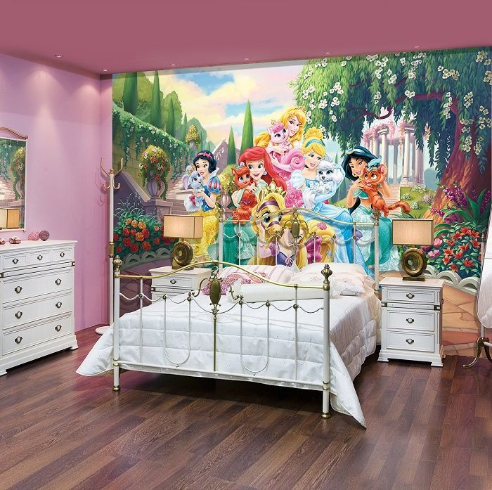 Giant Size Wallpaper Mural For Girl S Room Palace Pets Disney Paper Wallpaper Ideas Express Kids Room Wallpaper Disney Princess Room Disney Princess Bedroom