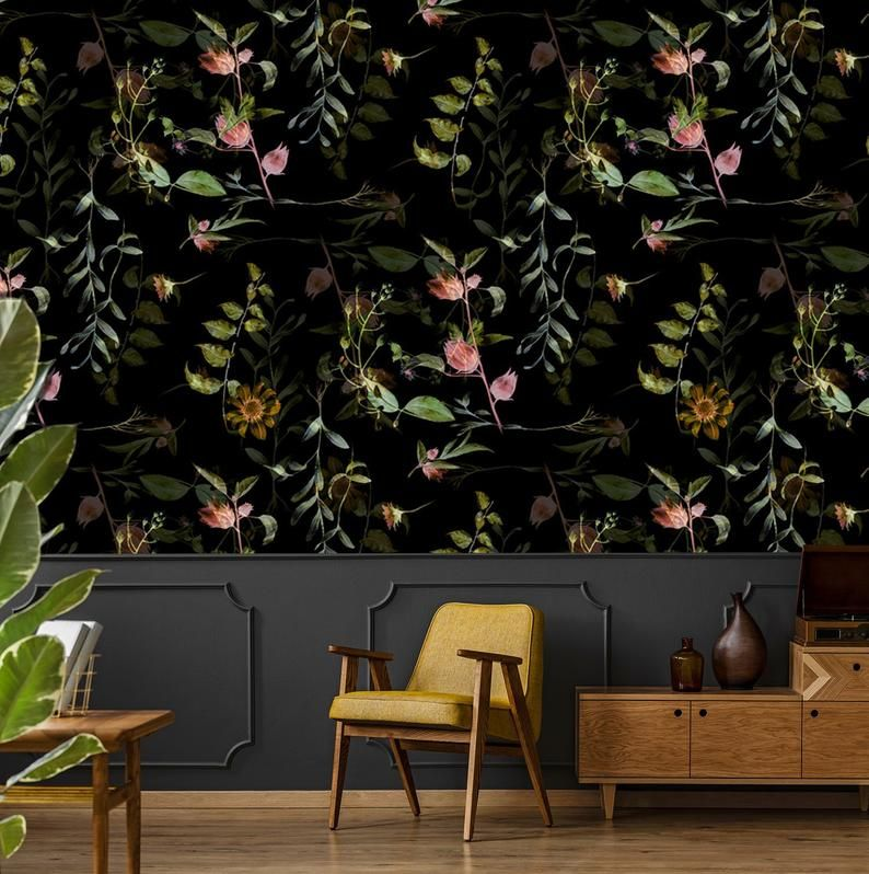 Watercolor Botanical Wallpaper Self Adhesive Wallpaper Dark Floral Wallpaper Watercolor Pattern Wall Mural Peel And Stick Wallpaper Botanical Wallpaper Leaf Wallpaper Self Adhesive Wallpaper