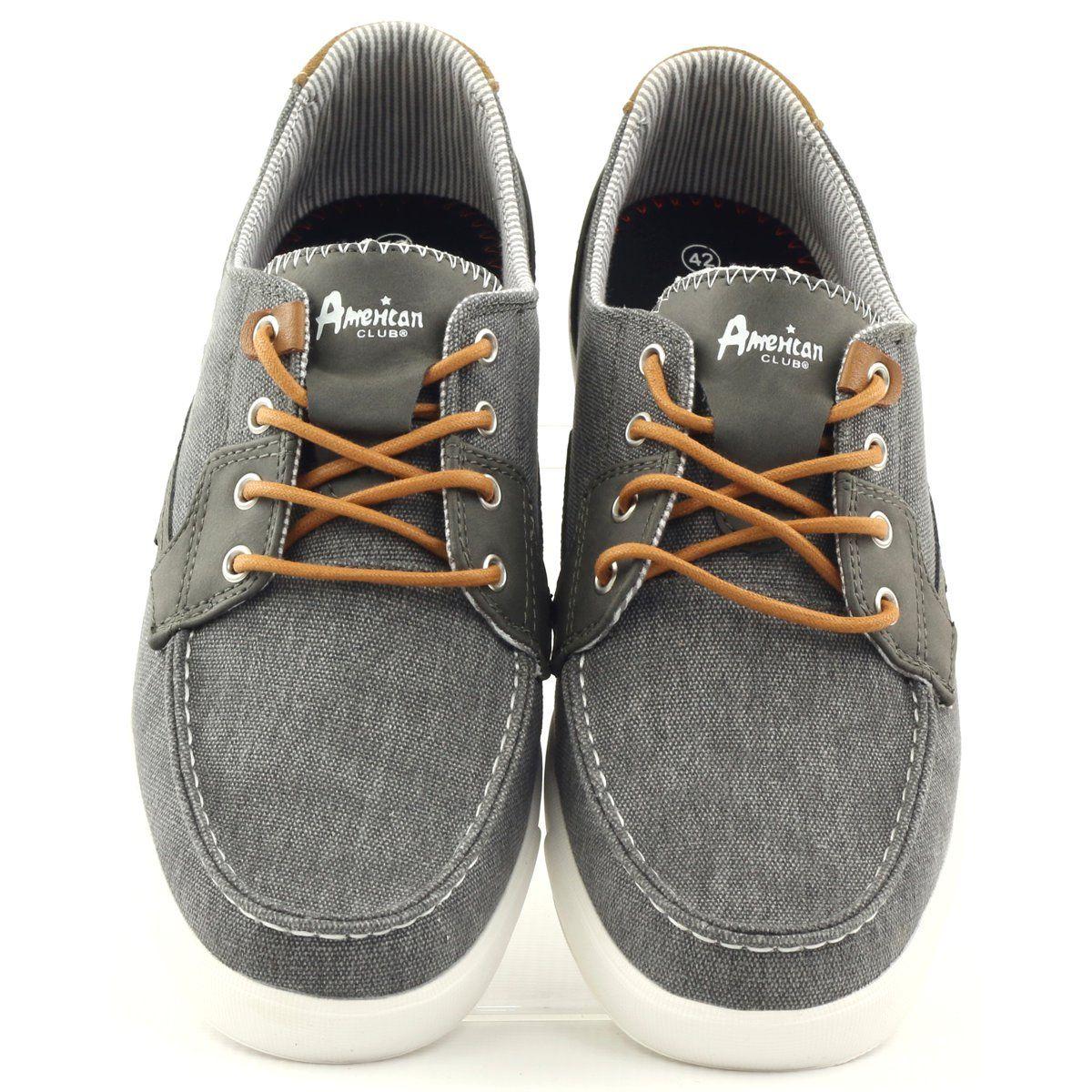 American Club Buty Meskie Mokasyny Tekstylne American 205081 Szare Loafers Shoes Men S Shoes