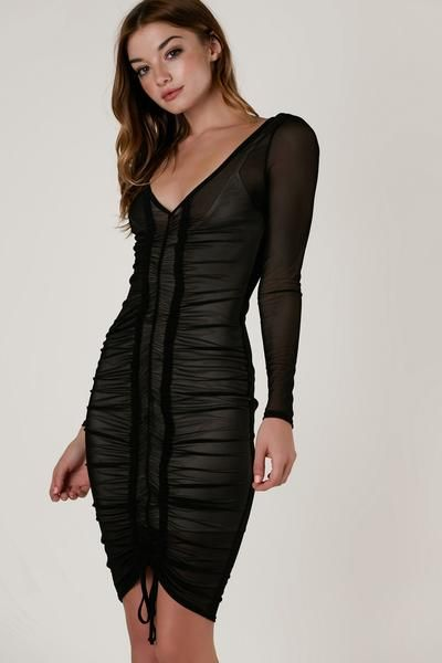 Sexy long sleeve bodycon dress with nude lining and sheer mesh exterior.  Flattering V-neckline with ruching down the center in front and adjustable  ... cea845dc5