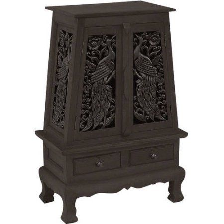 AsiaEXP Handcarved Acacia Wood Storage Cabinet/End Table, Intricate Peacock Design