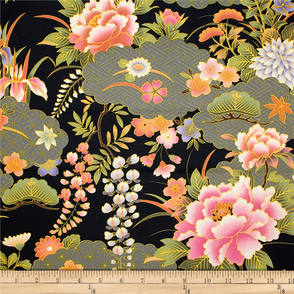 Trans Pacific Textiles Oriental Chrysanthemum Iris Black From Fabricdotcom From Trans Pacific Textiles T Vintage Fabric Patterns Oriental Printing On Fabric