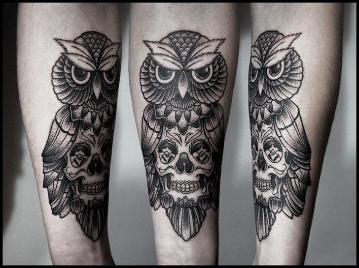 SKull body Owl Dotwork tattoo by White Rabbit Tattoo