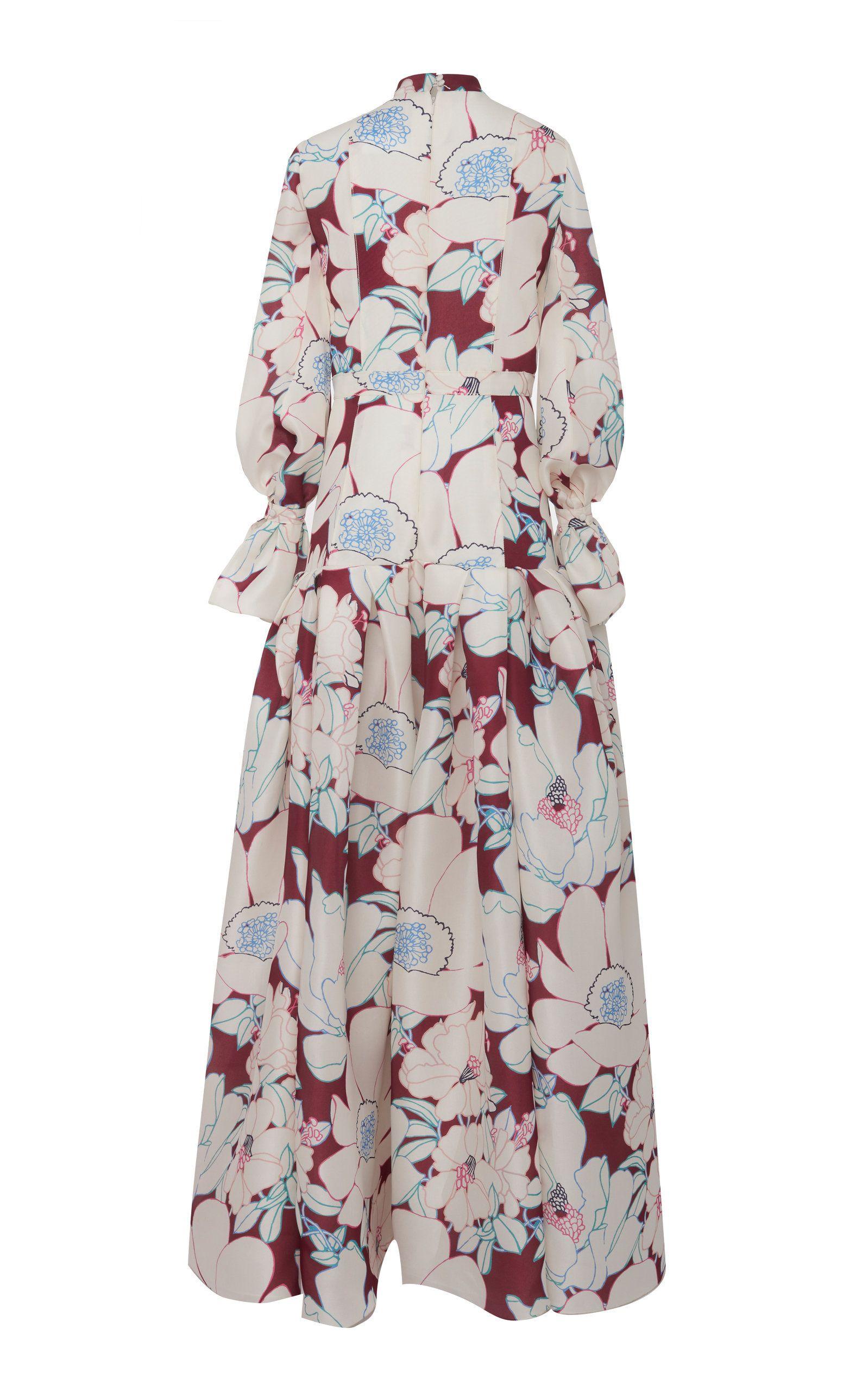 ab01803427797 Floral Printed Drop Waist Silk Gown by CAROLINA HERRERA for Preorder on  Moda Operandi