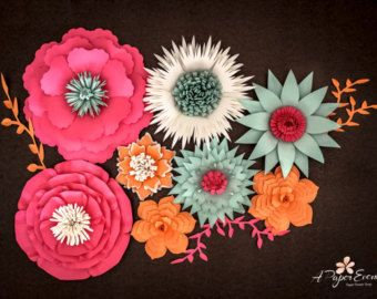 17 Piece Paper Flower Set, Baby Shower Backdrop, Paper Flower Wall, Large Paper Flowers, Bridal Shower Backdrop, Baby Shower Centerpiece #paperflowercenterpieces
