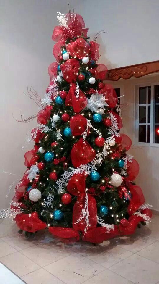 Arbol navide o rojo blanco y azul christmans tree blue red and white decoraciones navide as - Arboles de navidad blanco decoracion ...