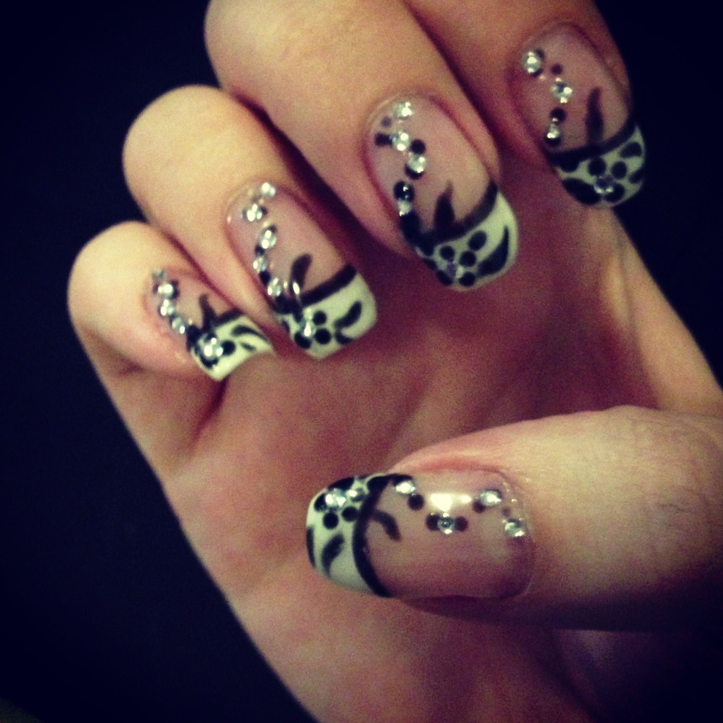 Black and white French gel nail design | My Nail Designs | Pinterest ...
