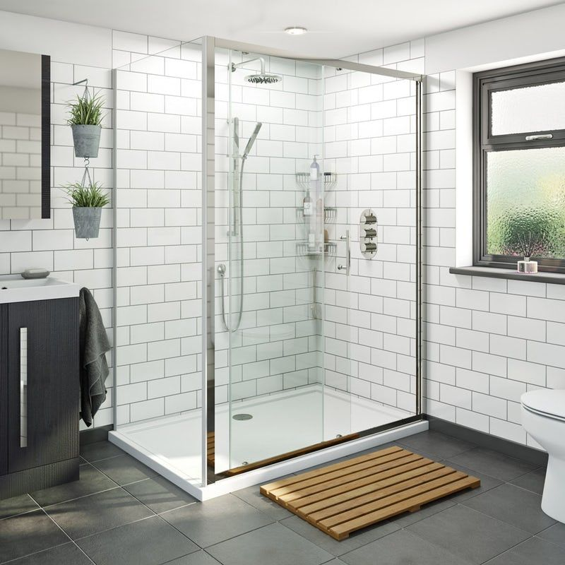 Orchard 6mm Sliding Shower Enclosure With Stone Shower Tray