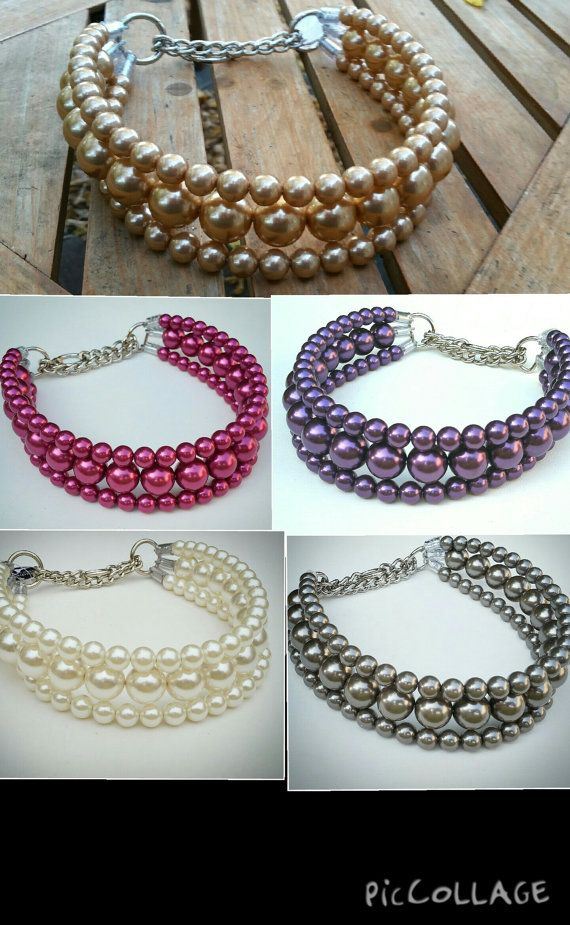 The Via Pearl Dog CollarCat collar Buckle Collars by BeadieBabiez