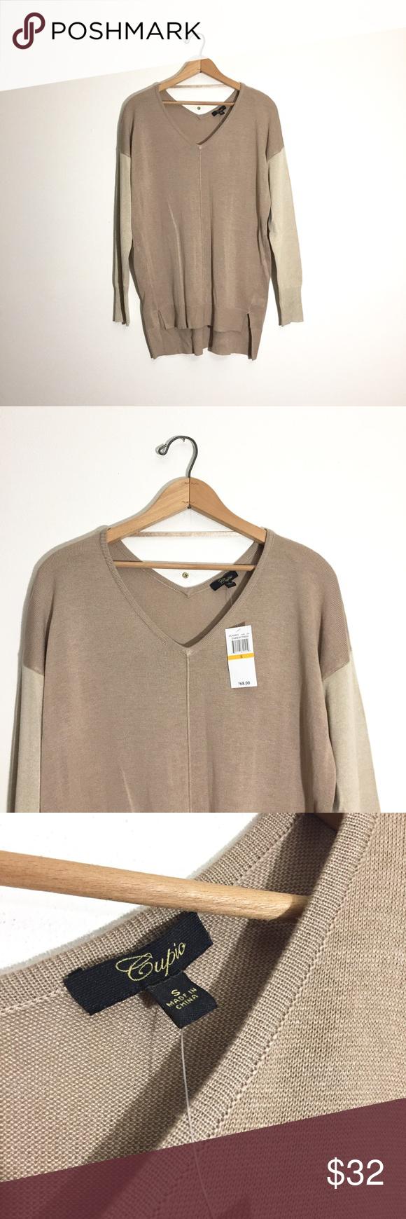 Cupio tan color block tunic sweater Beautiful light weight Cupio ...