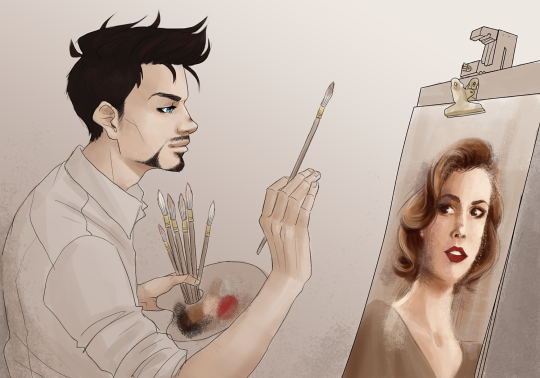 Artist Tony Stark paints his mother, Maria.