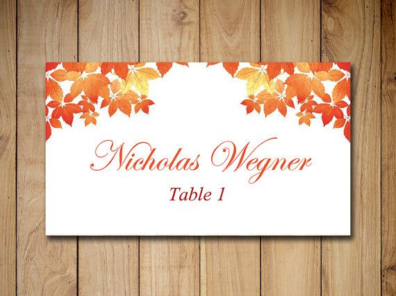 Fall Wedding Place Cards Template