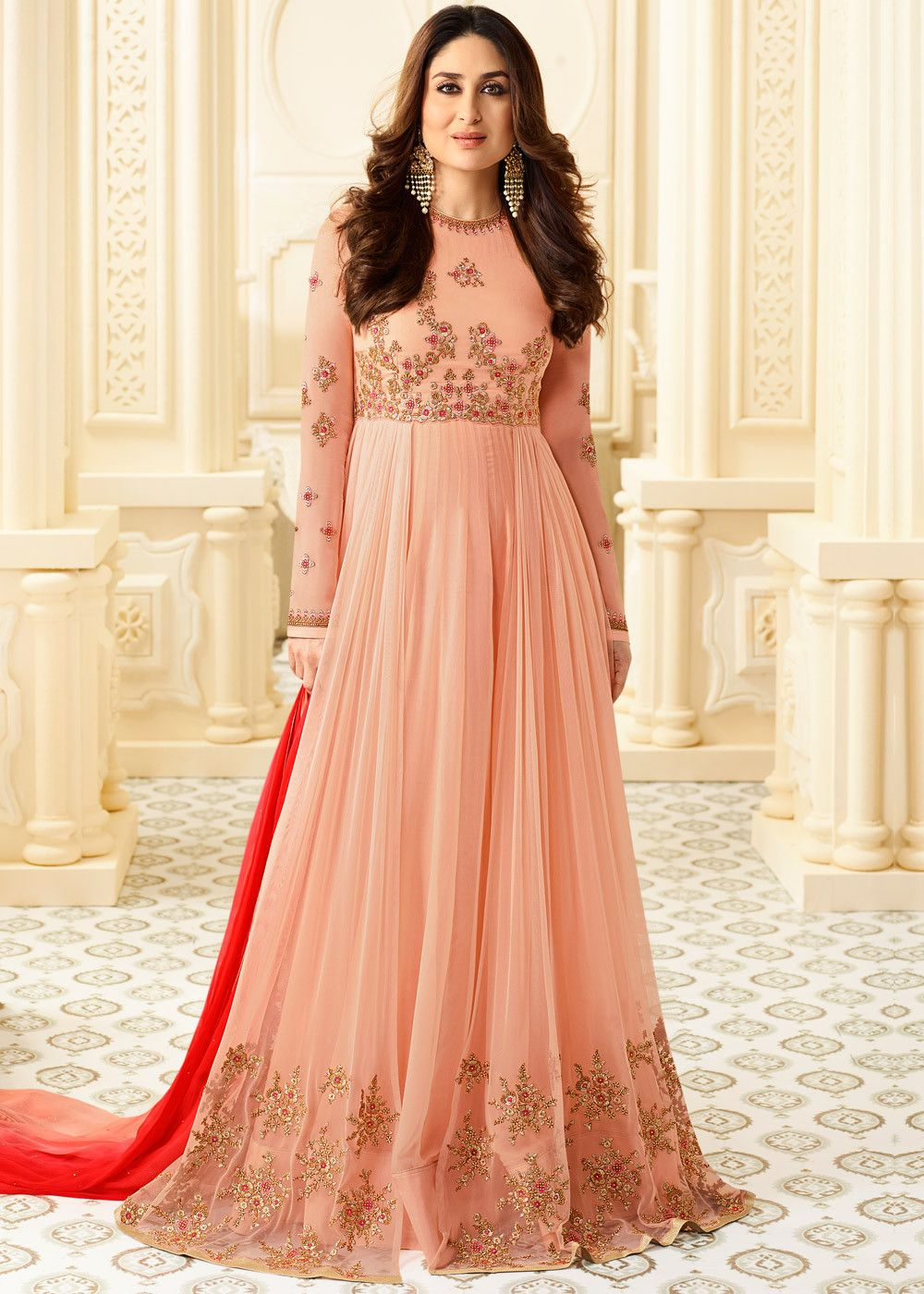 998f89c54b #Pink full sleeved twin layered #kameez in #georgette embellished with zari  and #resham #embroidery.