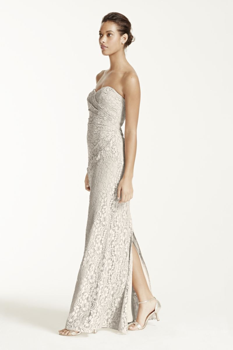 Long strapless lace dress with sweetheart neckline style w