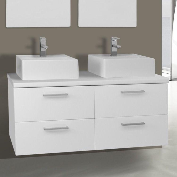 45 Inch Glossy White Double Vessel Sink Bathroom Vanity Wall
