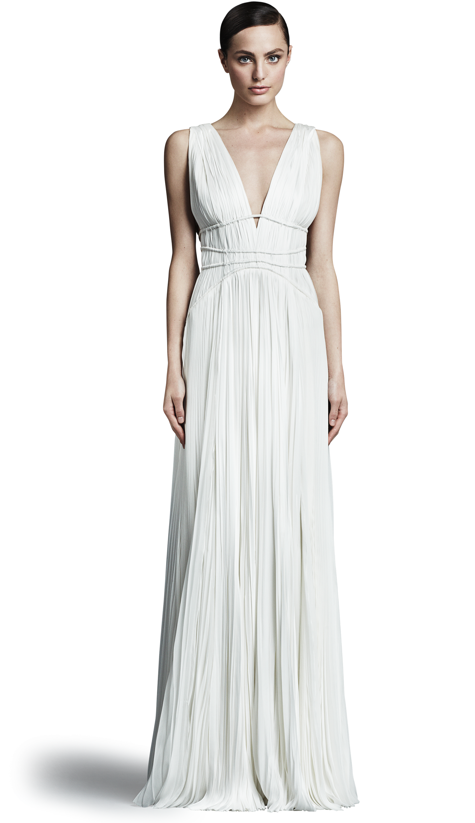 Giselle Gown by J. Mendel. Satin faced chiffon sleeveless pleated ...