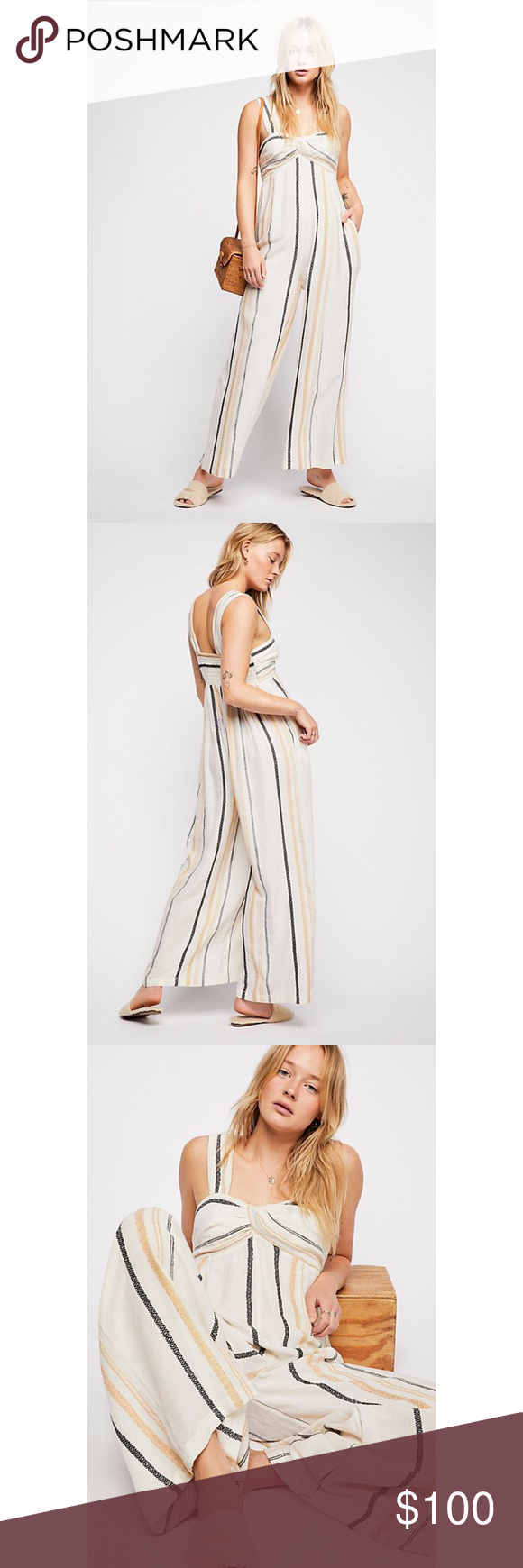 39b7e00a2b1b Free People Breezin Through Striped Jumpsuit in Wheat Combo. Ikat Details